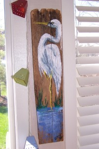 I painted this a VERY long time ago and it now hangs in my sisters sunroom