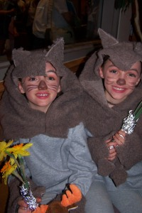 In case you can't tell, they were wolves - you know, two by two, they went into the Ark.  This was my feeble attempt at a costume!