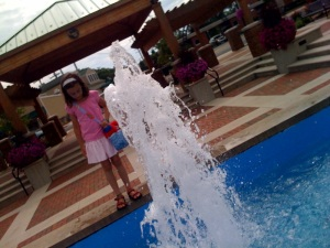 The fountain at the downtown park...the girls love to dip their toes in.  The flowers downtown everywhere are amazing.