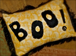 Boo!  Can you see all the ghosts on this fabric?